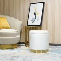 Salon Cercle blanc MDF Velvet Tissu en mousse Ottoman Tabouret Tabouret de repose-pieds Meubles