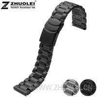 Vente en gros - Homme Sangle 23mm Bracelet en acier inoxydable Fermoir de déploiement en acier inoxydable avec précision Noir Silver Style Matte Style1