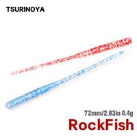 Tsurinoya Fishing Lure 72mm 0.5g Material UV Ajing Pequeño Pequeño Cola Aguja Tail Soft Lure Rockfish Artificial Bait 60pcs 201029