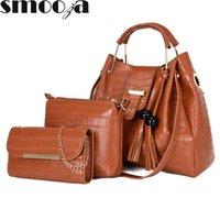 HBP SMOOZA 3 STÜCKE Damen Tasche Mode PU-Leder Damen Handtasche Feste Farbe Messenger