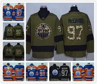 에드먼턴 오일러 # 29 Draisaitl # 97 Connor McDavid # 99 Wayne Gretzk 오렌지 하키 유니폼 아이스 유니폼