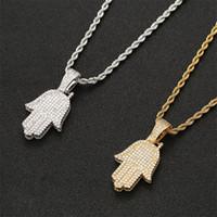 Iced out cz collana pendente a mano oro argento colore cubico zircone uomini donne hip hop gioielli per regalo 298 J2