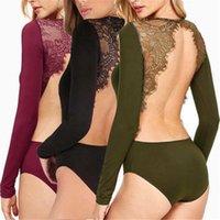 Kadınlar Dantel Çiçek Seksi Backless Uzun Kollu Body Suit Düz renk Romper Leotard Drop Shipping Tops