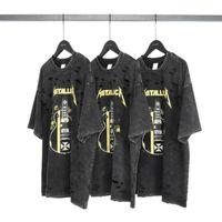 VfiveUnfour print t-shirt shirts streetwear hip hop hip hop surdimensionné harajuku manches courtes des trous détruits trous hauts tops t-shirts été T200408