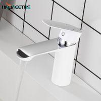 Haliaetus banheiro pia torneira fria e quente torneira de banheiro cromo misturador de água branco torneira de água branco taucet único punho t200424