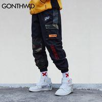 Gonthwid камуфляж лоскутная сторона карманные грузы гарема брюки мужские повседневные Jogger Streetwear Hip Hop Streetwear брюки мужские 210201
