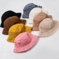Invierno imitación piel chicas cálidas sombreros cubo sombrero cordero espesado peluche pescador sombrero panama cascas casales niños regalo 8 colores HA3029