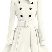 Kış Kadınlar Yün Coat WINDBREAKER Çok renkli Kemer Bandaj Üst Beyaz Yün Blend Kız Elbise Ceket Kalın Bayanlar Artı Boyutu Tops