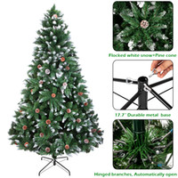 Christmas Tree 6FT 920 Branches Flocking Spray White Tree Pl...