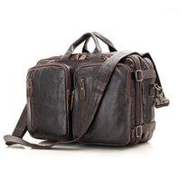 Nesitu Grande Capacidad Black Brown Coffee Genuine Leather Office Hombres Maletín Business Travel Messenger Bags Portfolio M70141
