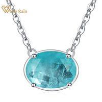 Wong Rain Vintage 100% 925 Стерлинговое серебро Овальный нарезка Paraiba Tourmaline Gemstone Свадебное ожерелье Ожерелье изысканные украшения Оптом LJ201009