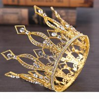 Gold Color Queen King Tiara Crown Baroque Retro Tiaras and C...