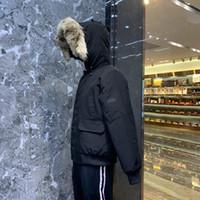 WOLF Fur moda inverno homens casaco hoold jaqueta de inverno jaquetas Quente capuz preto para baixo parka quente casaco quente ocasional revestimento roupa