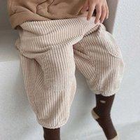 2021 Spring New Baby Corduroy брюки трусики мода девочек дети мальчики детей полная длина брюки детская одежда OW0B