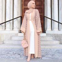 Ropa étnica Abayas para mujeres 2021 Kaftan Abaya Dubai Islam Floral Cardigan Vestido musulmán Caftan Marocain hijab turco islámico