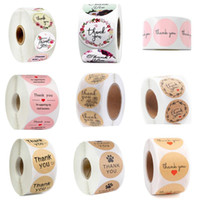 """도매 500pcs / 롤 """"감사합니다""""씰링 스티커 꽃 사랑 수제 라벨 핑크 상업용 스티커"""