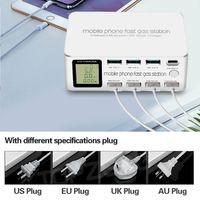 8-ميناء 100W الهواتف المحمولة شاحن 1 PD 48W Type-C شحن سريع + 3 QC3.0 +4 المنافذ USB 2.4A محطة الشحن