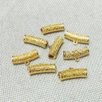 Halskette Anhänger Kautschleifen Steckverbinder Verschlussfindungen Tibet Tube Perlen Hohl filigraner Spacer W / Loop Schmuck machen Lederkordel Kit