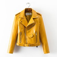 Autumn Women' s Leather Jacket Short Washed Bright Color...