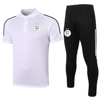 2021 Cezayir Kısa Kollu Polo Gömlek Setleri Futbol Eğitim Takım Survetement Spor Yetişkin Kısa Kollu Polos ve Pantolon Kitleri Erkek Eşofman