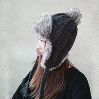 2020 Yeni Desen Şapka Kadın Güzel Saç Ampul Earmuffs Şapka Aşağı Artırmak Kalınlaşma Sıcak Örgü Şapkalar Kadın Winter1