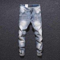 남자 청바지 패션 streetwear 남자 가벼운 파란색 슬림 피트 이탈리아어 빈티지 탄성 데님 바지 디자이너 힙합 homme1