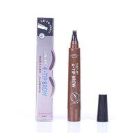 Microblading الحاجب الوشم القلم 4 رئيس غرامة رسم الحاجب السائل قلم ماء الوشم العين الحاجب القلم سخد مقاوم 5 ألوان