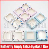 Multicolor Butterfly Print Empty Eyelash Packaging Cardboard...