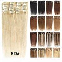 Блондинка черно-коричневый шелковистый прямой клип в наращиваниях человеческих волос 70 г 100 г 120 г бразильских индийских ременных волос для полной головы