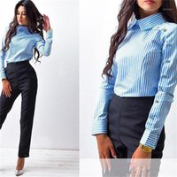 Femmes Bureau Lady Shirts Tops Spring Fashion manches longues Slim Blouse Blouse chemisier Femme Blusa Feminina Casual Blue Shirt1