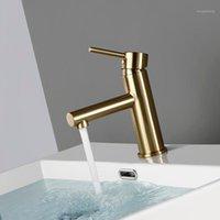 Bagnolux Luxo Morden Brushed Gold Lavatory Torneira Um Punho Trim Torneira Pia Do Banheiro Quente e Frio Casa de Banho Misturador de Vaidade Tap1