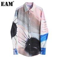 Женские блузки Рубашки [EAM] Женщины узор напечатанные большие размеры блузка отворот с длинным рукавом свободная подходит рубашка мода прилив весна осень 2021 1dc81