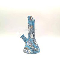 Силиконовые бонг портативные водопроводные трубы съемные стакан бонг силиконовые бонги для дыма нерушимые цветные печатные бонги
