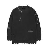 Нерегулярное отверстие нижние бодры для бахрома Мужчины и женские круглые шеи вязаные негабаритные повседневные свитеры Пуловер свободные вершины