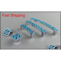 Série de vidro de cristal luz de diamante azul mobiliário punho maçaneta porta cômoda guarda-roupa guarda-roupa armários de cozinha armários qylclx toys2010