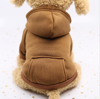 Roupas para animais de estimação inverno hoodie jeans bolso cães de dois pernas pano estilo esportes estilo animal de estimação roupas de cão suprimentos ddc4625