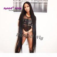 Ünlü Nicki Minaj Süper Uzun Peruk Sentetik Siyah 32 inç 52 inç 70 inç Bel Ayak Uzunluğu Ipek Düz Saç Tam Peruk Saç Derisi Peruk