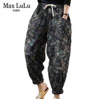 Max LuLu Nouvelle-coréen Mode Femmes Floral fourrure Jeans Denim Femmes Imprimé en vrac Pantalon d'hiver chaud Sarouel Plus Size 201014