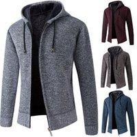 Chalecos de hombres 2021 Otoño Hombres con capucha Cardigan Cardigan Suéter Jumper Bolsillos de rayas de moda de invierno Punto Outwear abrigo