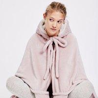 Coberturas Cama Bonito Rosa Comfy Cobertor Suéter Inverno Quente Adultos e Crianças Orelha Capuz Lã Sleepwear Enorme