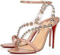 Мода летние красные дна Corinetta сандалии с безресневенными мельчайными ремнями PVC Женщины Высокие каблуки Элегантные дамы Гладиаторы Сандалии ЕС 34-43
