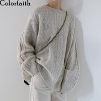 Colorfaith New Autumn Winter Women Sweater-pullovers Warm Minimalist Knitting Elegant Ladies Loose Oversize Tops SW8108A 201102