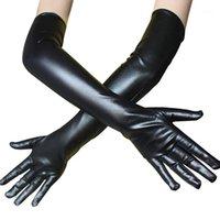 Fünf Fingers Handschuhe Schwarz Weiß Sexy Langer Handschuh Fetisch Kunstleder Clubwear Catsuit Cosplay Kostüme Fäustlinge Frauen Exotische Anziehungshandschuhe1
