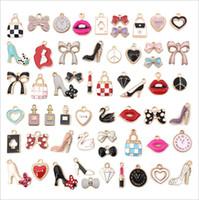 55pcs K K oro Colore Regoli in lega Charms per orecchini braccialetto collane olio gocciolamento cuore scarpe da bow pendenti di gioielli fai da te accessori per gioielli