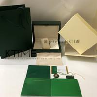 Lo nuevo de alta calidad Verde Caja de reloj Papeles Tarjeta monedero del regalo de madera de nuevos buzones bolso 116610 116660 126610 Para Relojes Caso orologio di Lusso
