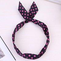1pc mode mignon arc de lapin de lapin coiffe de lapin pour filles 2020 rose doux polka dot fil élastique bandes de cheveux rubans q sqcnet