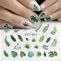 1 stücke Wasser Nagel Aufkleber und Aufkleber Blume Blatt Baum Grün Einfache Sommer DIY Slider Für Maniküre Nail art Wasserzeichen Maniküre Dekor