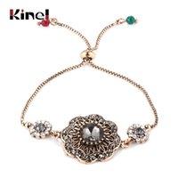 Link, Chain Kinel Luxury Gray Crystal Flower Bracelet For Women Antique Gold India Bracelets Adjustable Length Vintage Wedding Jewelry