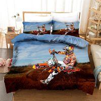 Yi Chu Xin Роскошные постельные принадлежности Установить мотоцикл печатающую одеяло набор с наволочкой мотокросс кровати кровати для мальчика 201210