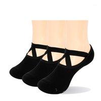 Spor Çorap YUEDGE 3 Pairs Kadınlar Black Yoga Kaymaz Saplar Sapanlar, Pilates, Barre, Bale, Dans, Pamuk Nefes Sıkılabilir Socks1 için ideal